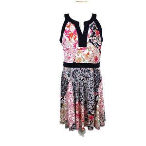 Enfocus Studios Size 14 Pink Black Floral Dress